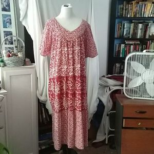 Lovely red &white casual dress, sz 1X
